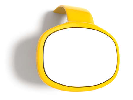 3d render of yellow bubble speech window with shadow photo