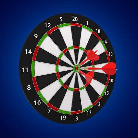 3d illustration of darts board on blue background Stock Illustration - 11082996