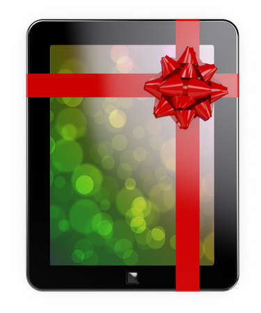 3d render of tablet PC with red ribbon and bow