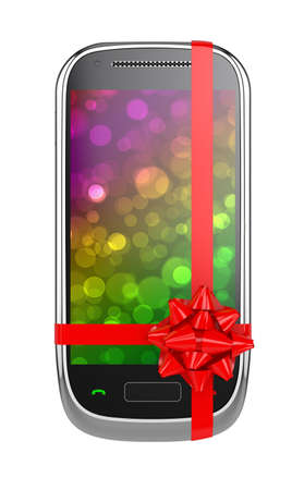 3d render of mobile phone with red ribbon and bow photo