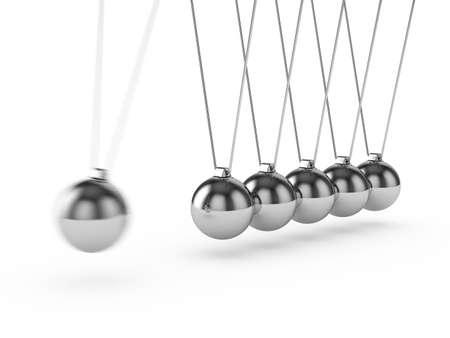 newton cradle: 3d render of newton ball isolated on white background Stock Photo