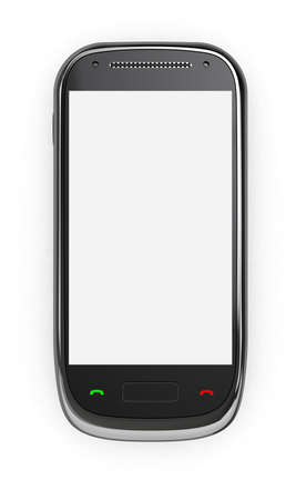 3d render of mobile phone with blank screen Stock Photo - 11263530