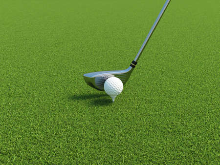 golfball: 3d illustration of golf ball on a tee with driver Stock Photo