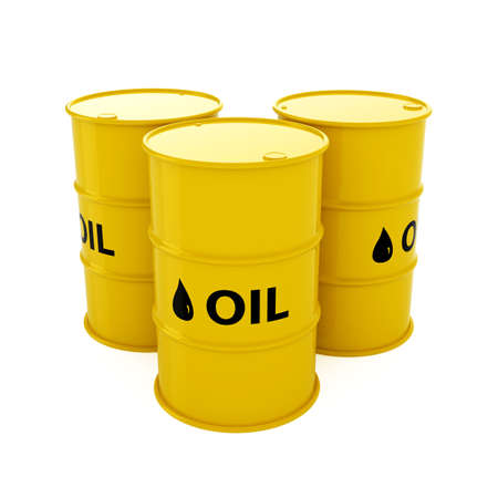 metal barrel: 3d render of yellow oil barrels isolated on white background Stock Photo