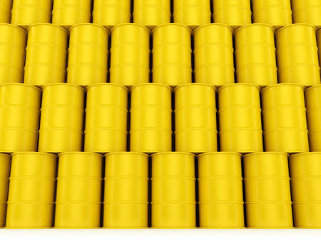 3d render of yellow oil barrels wall photo
