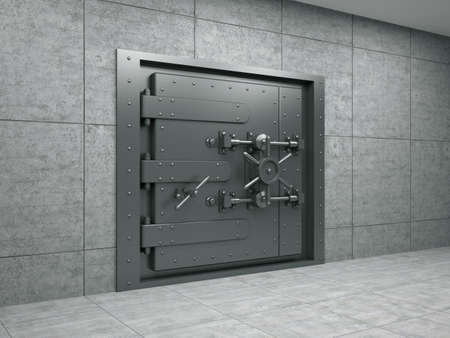 locked: 3d illustration of banking metallic door