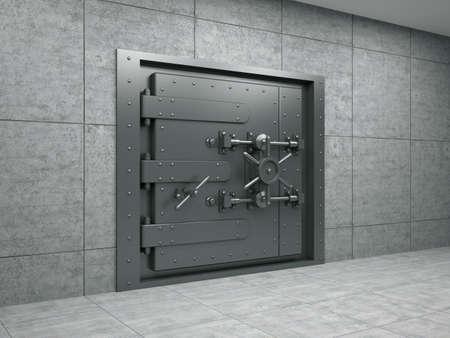 caja fuerte: 3d ilustraci�n de la banca puerta met�lica