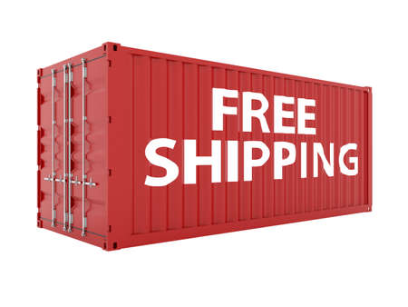 render of free shipping red cargo container on white  photo