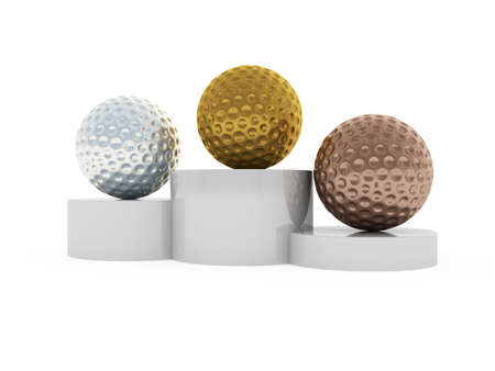 won: 3d illustration of victory podium with first, second and third places ball