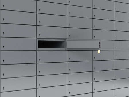 Illustration of opened deposit box with key and blank label  illustration