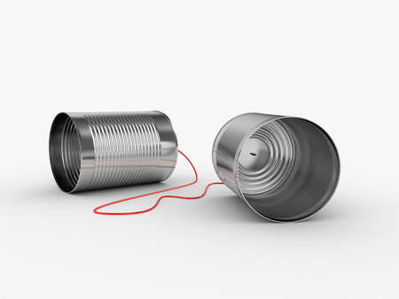 communicate: 3d ilustraci�n de la lata por tel�fono con cable de color rojo