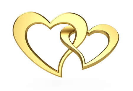 3d illustration of two gold hearts isolated on white illustration