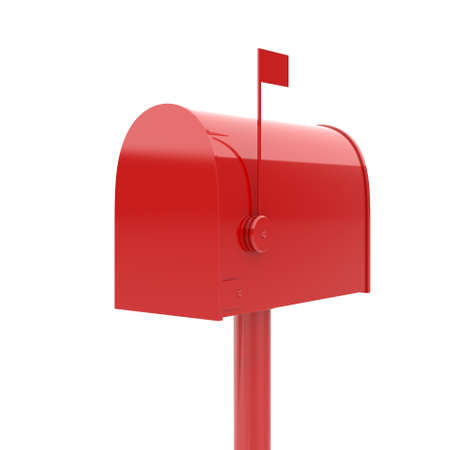await: 3d illustration of closed red mailbox