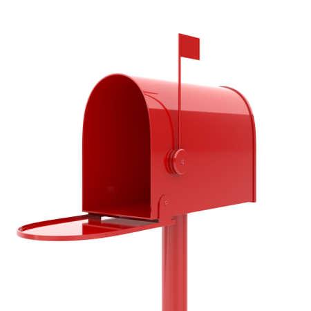 buzon: 3d ilustración de buzón abierto de color rojo