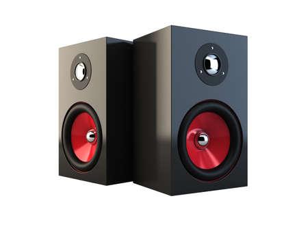 stereo: 3d illustration de haut-parleurs isol�s sur fond blanc Banque d'images