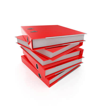 3d illustration of red folders set Stock Photo