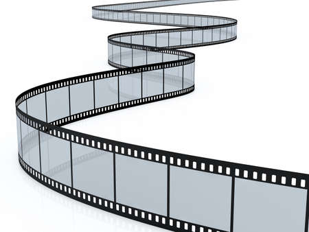 3d render of film strip on white background