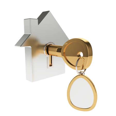 3d illustration av huset ikon med nyckel isolerad på vitt