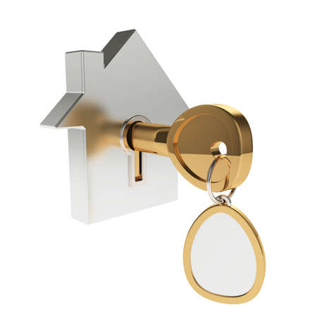 home owner: 3d illustration of house icon with key isolated on white Stock Photo