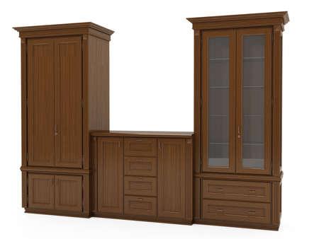 muebles de madera: 3d ilustraci�n de muebles cl�sicos de madera aislada sobre fondo blanco Foto de archivo