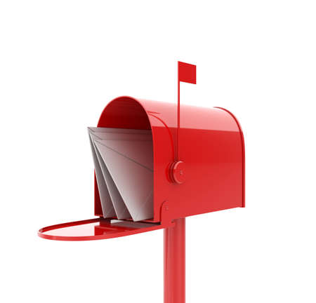 metal post: 3d illustration of opened red mailbox with letters