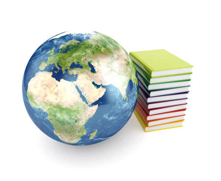 history books: 3d illustration of Earth planet and books over white Stock Photo