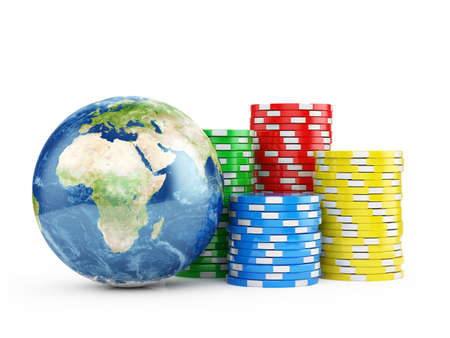 chips stack: 3d illustration of Earth globe with chips over white Stock Photo