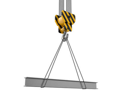 lading: 3d illustration of crane hook with rail on white Stock Photo