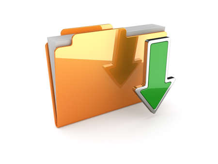 3d illustration of download folder on white background illustration