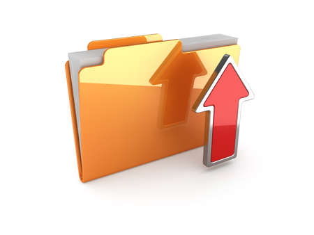 file sharing: 3d illustration of upload folder on white background