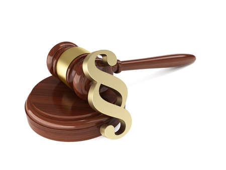 3d render of wooden judge gavel with paragraph sign on white background photo