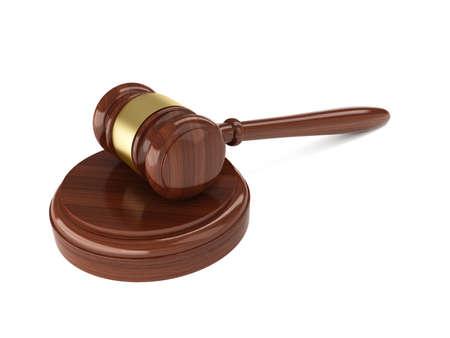 martillo juez: 3d de martillo juez de madera sobre fondo blanco Foto de archivo