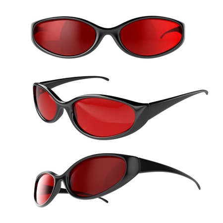protective spectacles: 3d render of different view sport glasses isolated on white