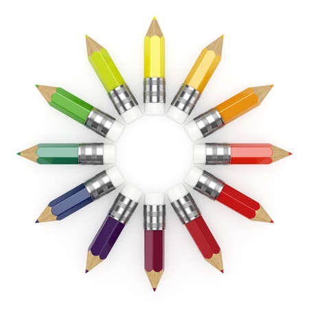 saturated color: Illustration of colorful pencils wheel on white background