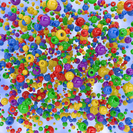 Illustration of colorful spheres with holes on blue background illustration