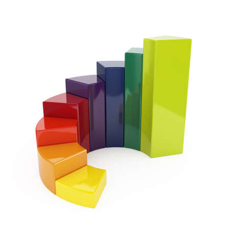 business results: 3d illustration of ring colorful chart isolated on white background