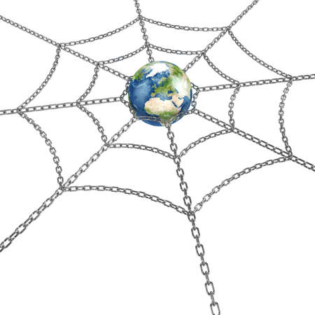 3d illustration of Earth planet with metal web Stock Illustration - 12420496