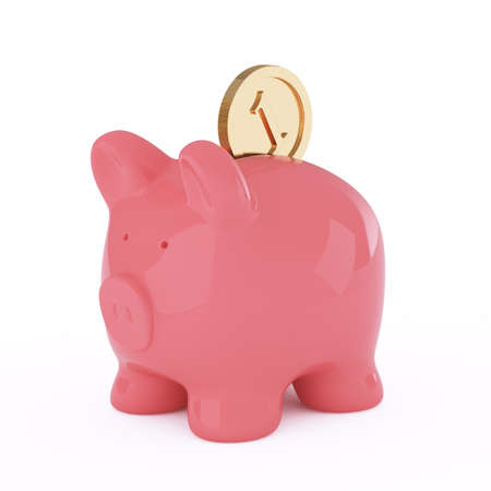 3d render of piggy bank and coin on white background  photo