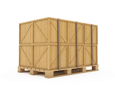 wooden box: 3d render of wooden boxes on palette isolated Stock Photo