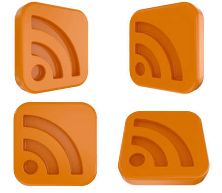 syndication: 3d RSS Symbol Isolated Stock Photo