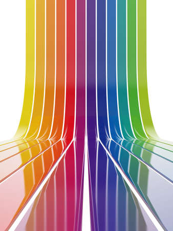 going up: 3d illustration of colorful lines going up isolated on white background