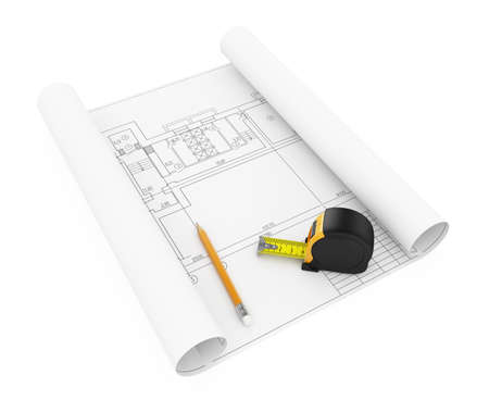 3d illustration of hous plan with tape measure and pencil illustration