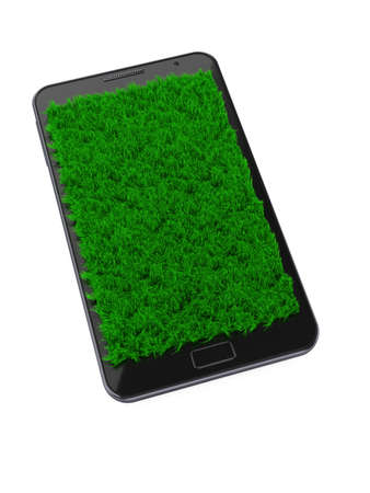 3d illustration of mobile phone with grass over screen illustration