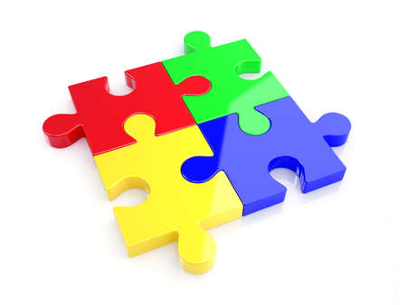 color choice: 3d illustration of four color puzzle concept. Isolated on whote background