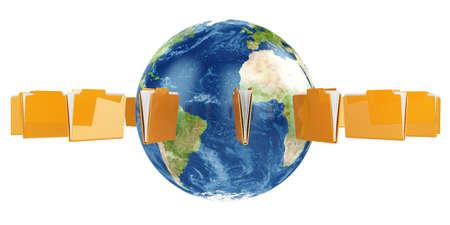 3d illustration of Earth globe with flying folders around Stock Illustration - 12420511