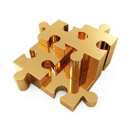 group of objects: 3d illustration of four gold puzzle over white background Stock Photo