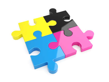 front angle: 3d illustration of CMYK puzzle