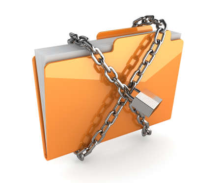 3d illustration of yellow folder with chain and padlock  Isolated on white illustration