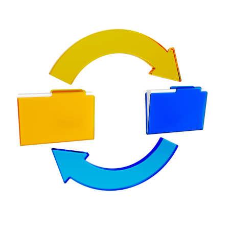 illustration of synchronizing of data between two folders Stock Illustration - 12724368