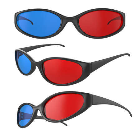 three dimensional shape: Illustration of different view 3d cinema glasses isolated on white  Stock Photo